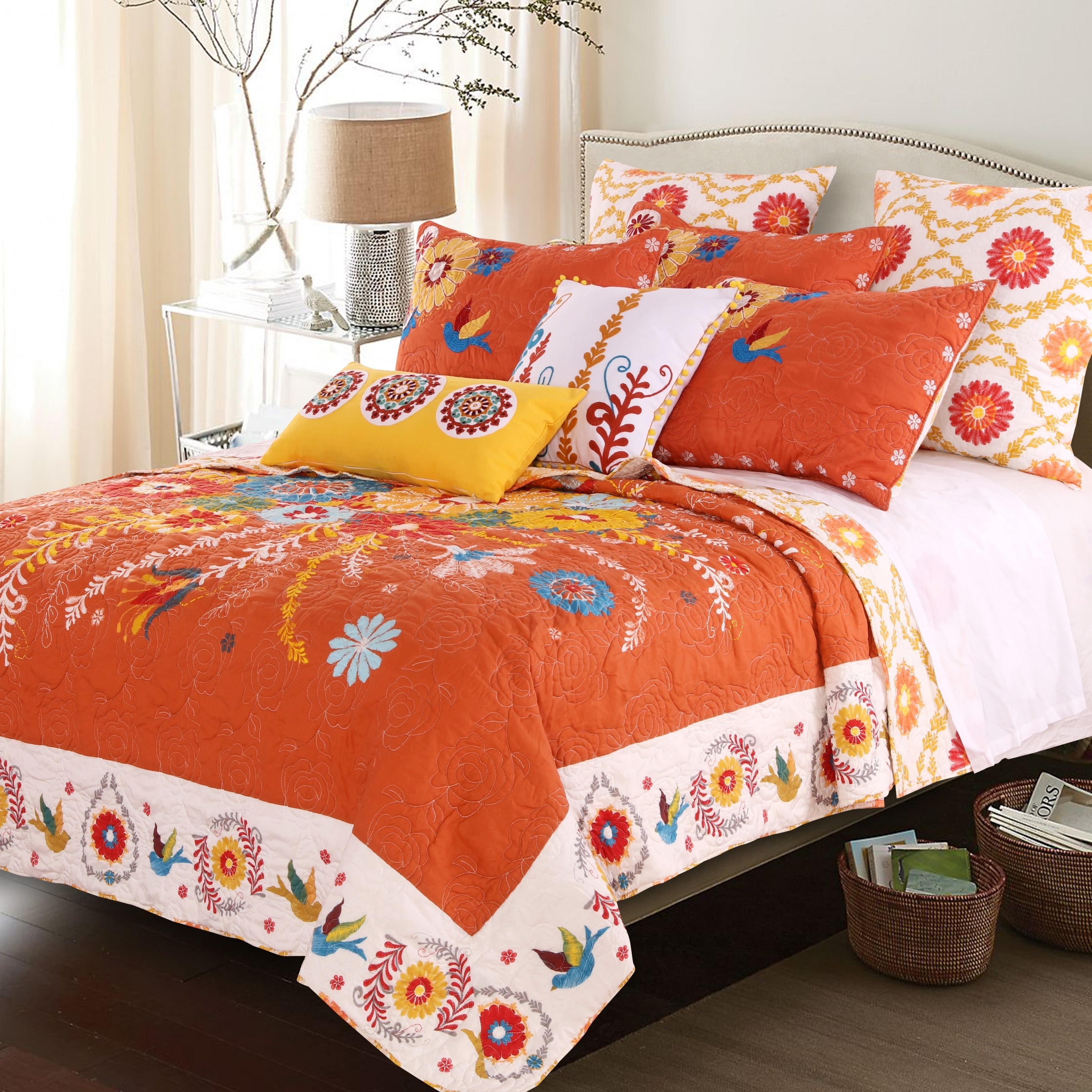 Barefoot Bungalow Topanga Bohemian Floral Orange Quilt Set Walmart Com Walmart Com