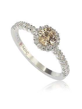 Sterling Silver Brown Cubic Zirconia Petite Bridal Ring