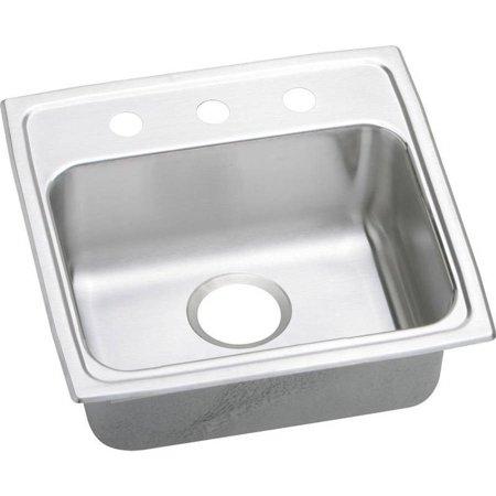 Lustertone 3 Hole - Elkay LRAD1918503 Gourmet Lustertone Stainless Steel Single Bowl Top Mount Sink with 3 Faucet Holes
