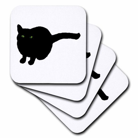 3dRose Painting of a Black Cat with Green Eyes for Halloween, Soft Coasters, set of - Cat Painting For Halloween