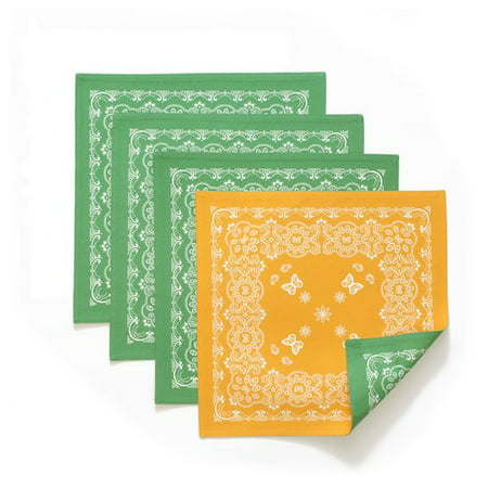 The Pioneer Woman Bandana Reversible Square Placemats, Green, Set of 4, Multiple - Pioneer Square Halloween