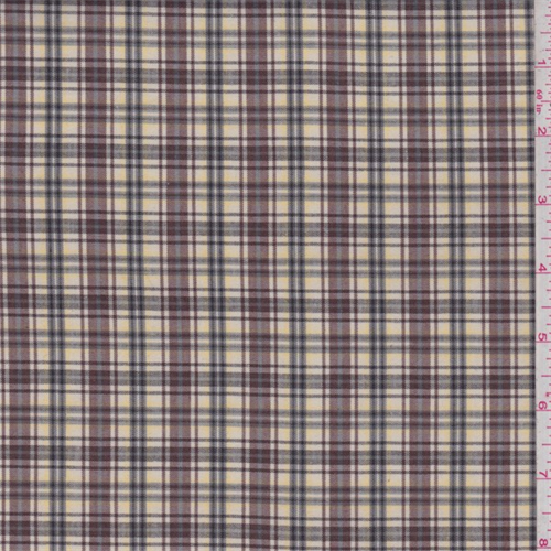Yellow/Burgundy Plaid Polyester Suiting, Fabric By the Yard