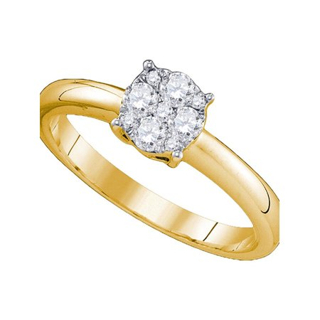 18kt Yellow Gold Womens Round Diamond Cluster Bridal Wedding Engagement Ring 3/4 Cttw - image 1 of 1