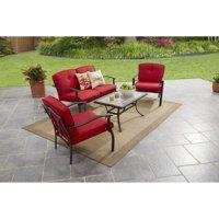 Mainstays Belden Park 4-Piece Outdoor Sofa Set for Patio, Red, Seats 4