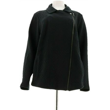 Isaac Mizrahi Knit Floral Jacquard Motorcycle Jacket A297007