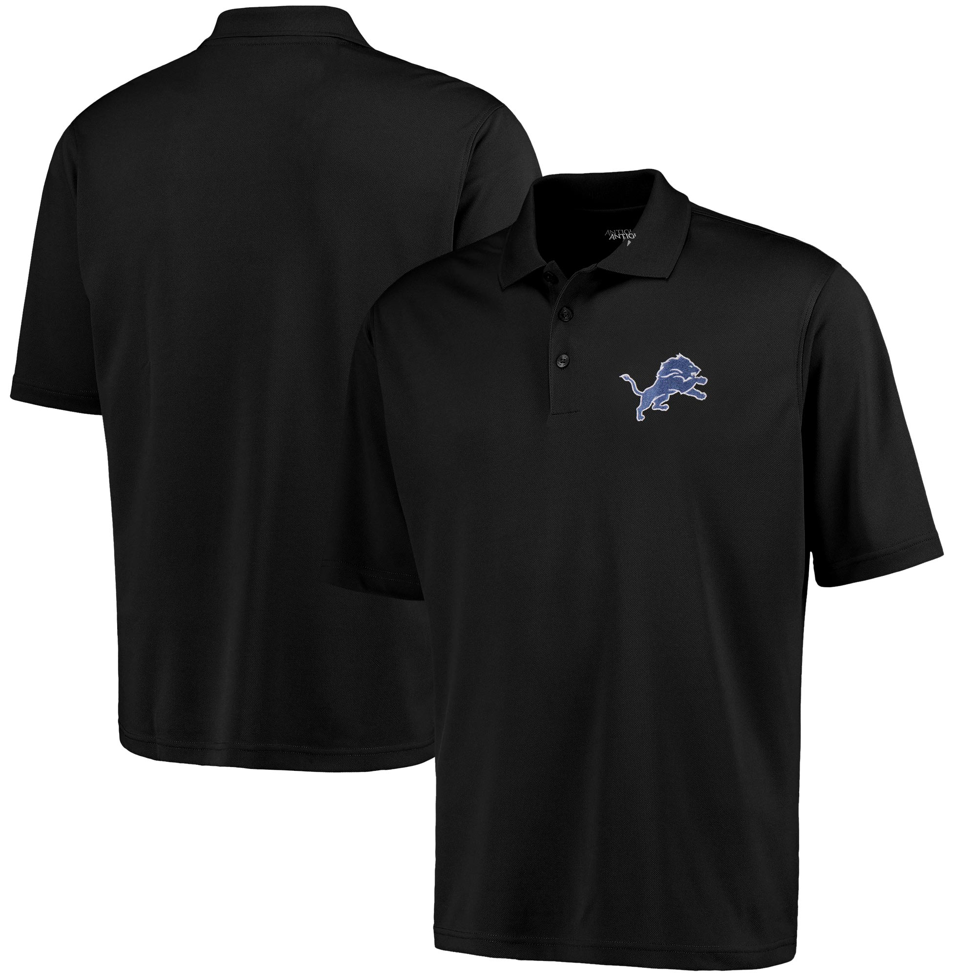 Detroit Lions Antigua Pique Xtra-Lite Polo - Black