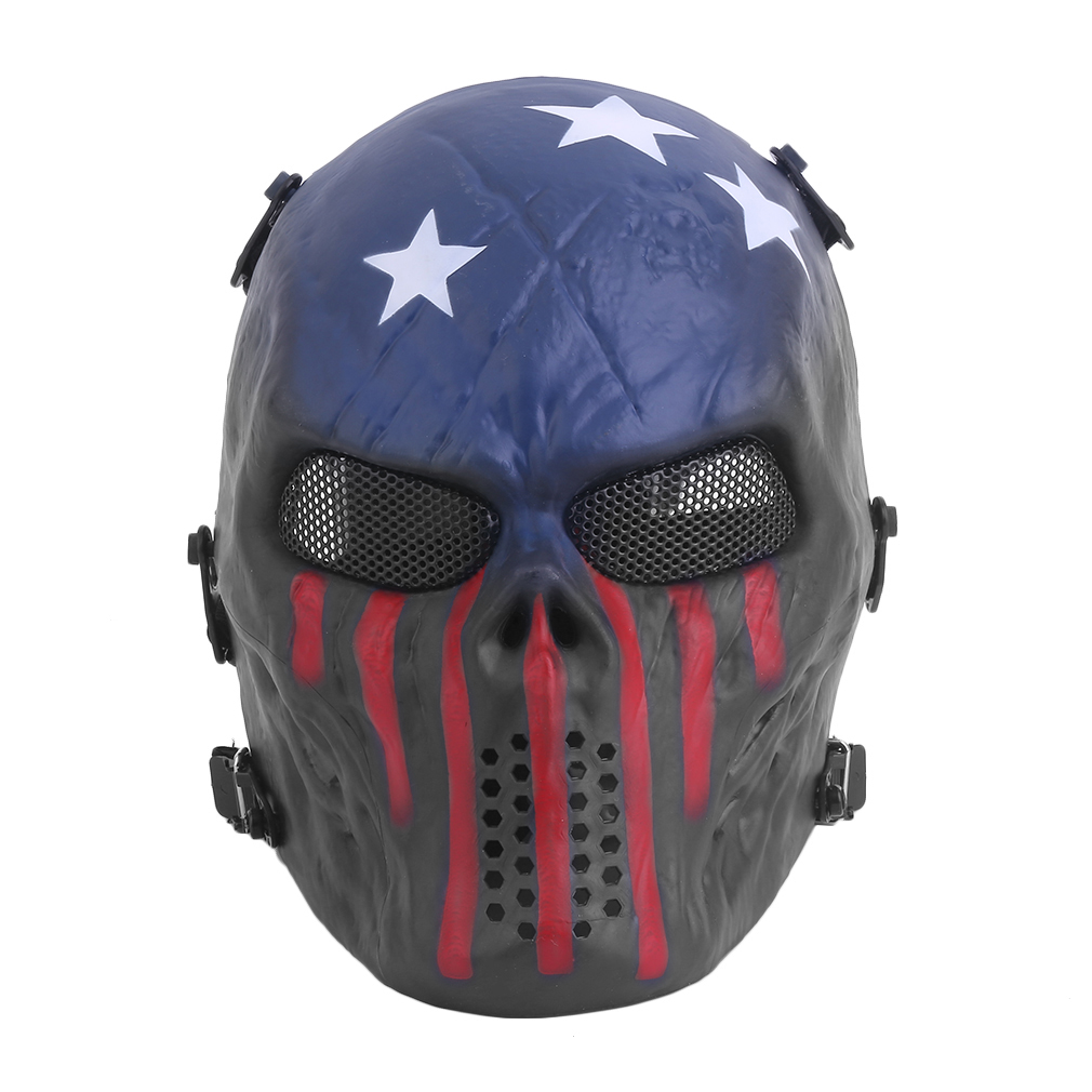 Airsoft Paintball Tactical Full Face Protection Skull Mask Skeleton Army Outdoor Use with Adjustable Straps Design