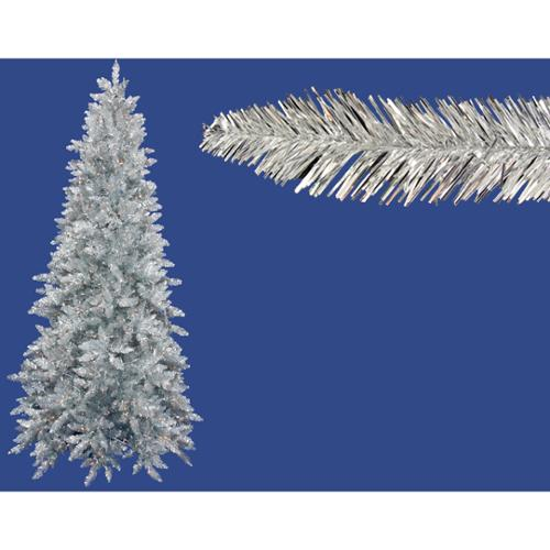 6.5' Pre-Lit Slim Silver Ashley Spruce Tinsel Christmas Tree - Clear Lights