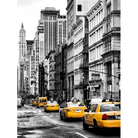 NYC Yellow Taxis / Cabs on Broadway Avenue in Manhattan - New York City - United States Print Wall Art By Philippe Hugonnard