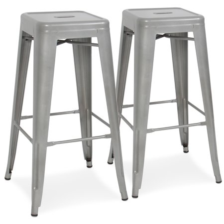 Best Choice Products 30in Set of 2 Modern Industrial Backless Metal Counter Height Bar Stools w/ Drainage Holes for Indoor/Outdoor Kitchen, Bonus Room, Patio - Silver (Modern Bar Stool)