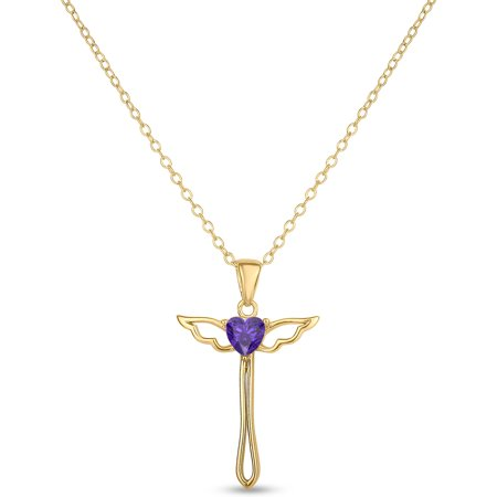 Amethyst 18kt Gold over Sterling Silver 5mm Heart Center Angel Cross Pendant Necklace, -