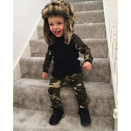 0-24M Autumn Spring Newborn Kids Camouflage set Baby Boys Long Sleeve Clothes T-shirt Tops + Pants Outfit Set thumbnail