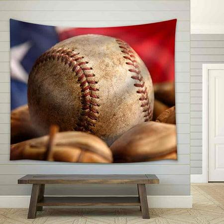 wall26 - Vintage Baseball Glove with American Flag - Fabric Wall Tapestry Home Decor - 68x80 - Baseball Wall Decor