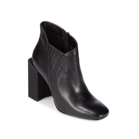 158a6437281e H Halston - Mal Leather Block Heel Booties - Walmart.com