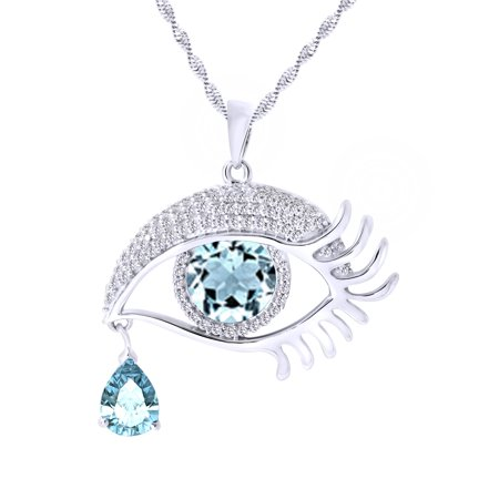 Angel's Eye Teardrop March Birthstone Aquamarine Pendant Necklace In 14K White Gold Over Sterling Silver