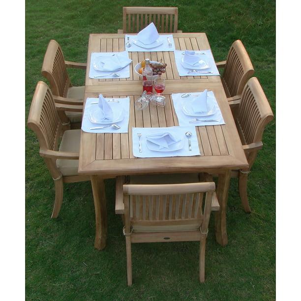 Teak Dining Set 6 Seater 7 Pc 94 Rectangle Table And 6 Stacking Arbor Arm Chairs Outdoor Patio Grade A Teak Wood Wholesaleteak Wmdsabc Walmart Com Walmart Com
