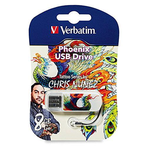 Verbatim 8 GB Mini USB Flash Drive Tattoo Series, Phoenix 98662