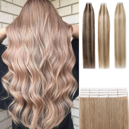 S-noilite Tape in Human Hair Extensions Highlight Balayage Long Straight Seamless Skin Weft Glue in Hairpieces Invisible Double Sided Tape ,Dark (Black Hairstyles For Long Hair With Side Bangs)