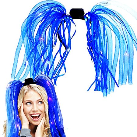 Light Up Hair - Toy Cubby LED Party Rave Disco Flashing Noodle Wig - Light Glowing Blue Dreads. Ideal For Halloween, Dress Up Parties, Masquerades...And So Much More! Be Refined! - Cubby Bear Halloween Party