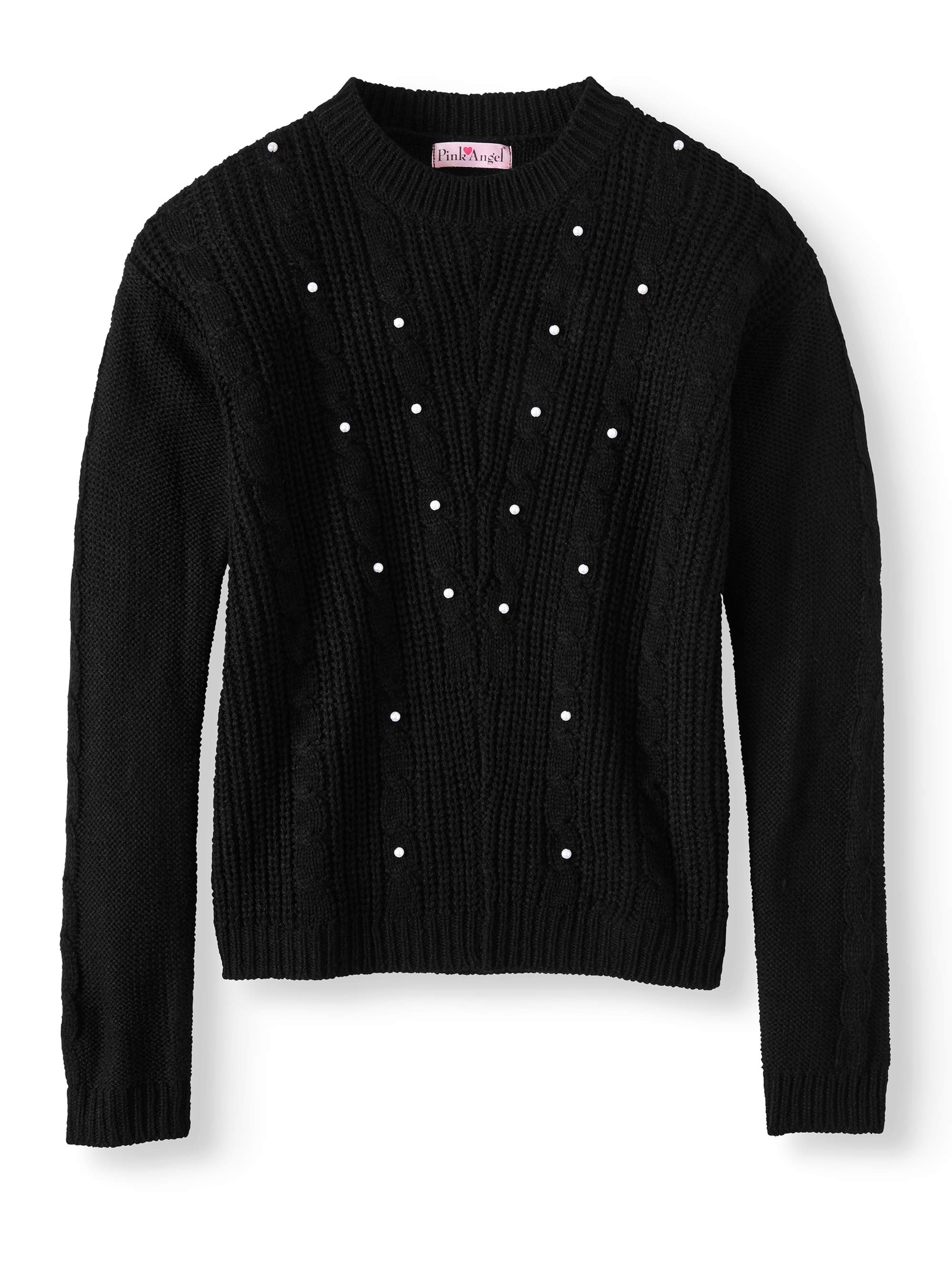 666e035ec Pink Angel - Pearl Cable Pullover Sweater (Little Girls   Big Girls ...