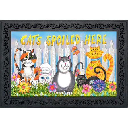Cats Spoiled Here Spring Doormat Floral Humor Indoor Outdoor 18