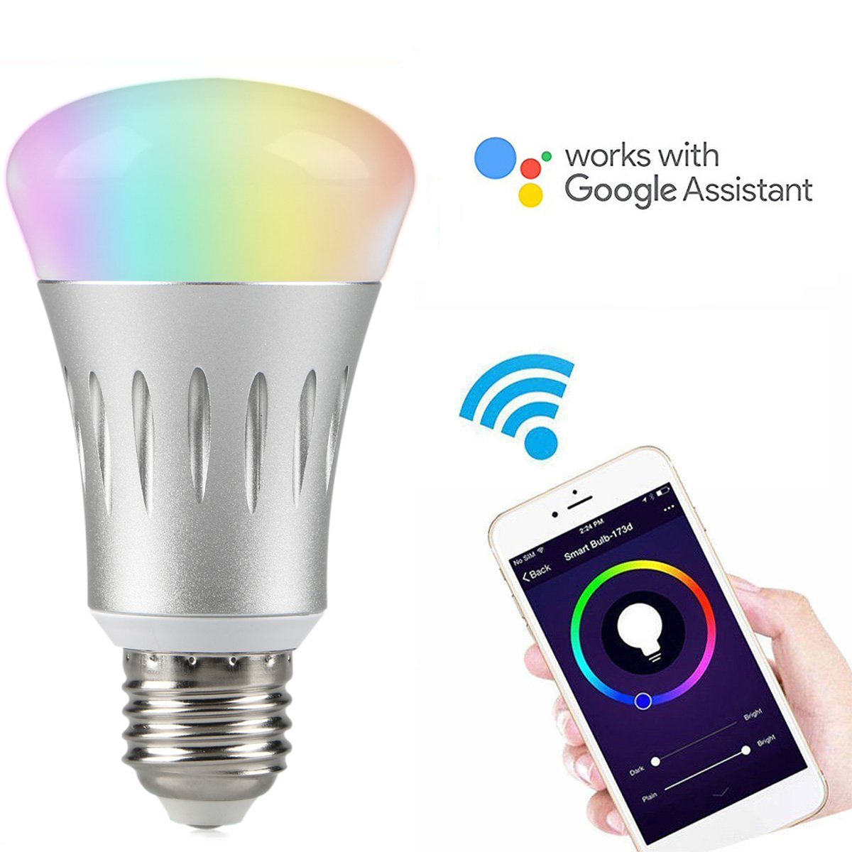 EEEKit 7W E27 Wireless WiFi Remote Control Smart Light Bulb RGB Lamp Compatible with  Google Home
