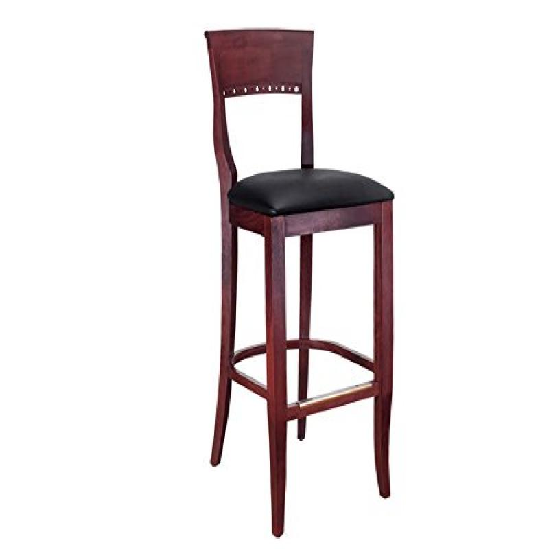 Beechwood Mountain BSD-6B-M Solid Beech Wood Bar Stool in Mahogany for Kitchen and dining by