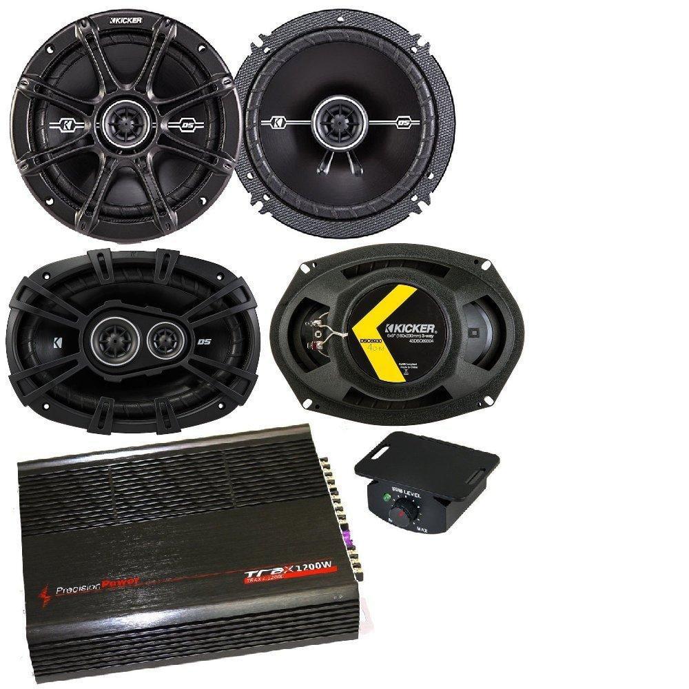 """Kicker 6.5"""" 240 Watt 2-Way 4-Ohm Car Audio Coaxial Speakers Kicker DS693 6""""x9"""" 3-Way Speakers precision TRAX41200D Power 4 Channel 1200W Car Amplifier"""