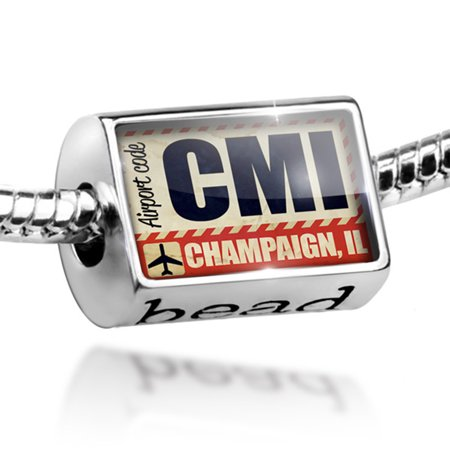 Bead Airportcode CMI Champaign, IL Charm Fits All European Bracelets ()