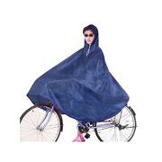 Bicycle Riders Seams Sealed Blue Hooded Raincoat for Adult