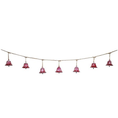 "Set of 4 Festive Red and Brown Christmas Decoration Hanging Bell Garland 60"" - Unlit"