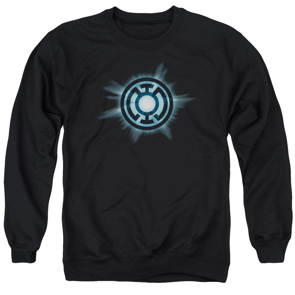 GREEN LANTERN/BLUE GLOW - ADULT CREWNECK SWEATSHIRT - BLACK - LG