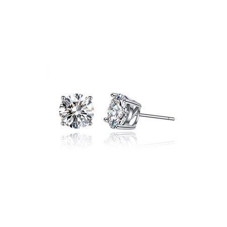 Sterling Silver 6 Mm Round Lab Created White Cubic Zirconia Stud Earrings