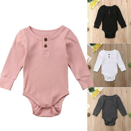 Cotton Knit Romper - Newborn Baby Boy Girl Knit Jumpsuit Romper Bodysuit Cotton Clothes Outfits