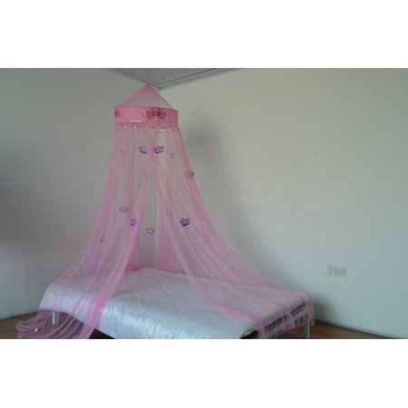 OctoRose Princess Crown Bed canopy , mosquito net for crib, twin, full, queen or king size (Pink) ()