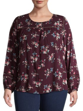 Time and Tru Women's Plus Size Printed Cutout Top with Long Sleeves
