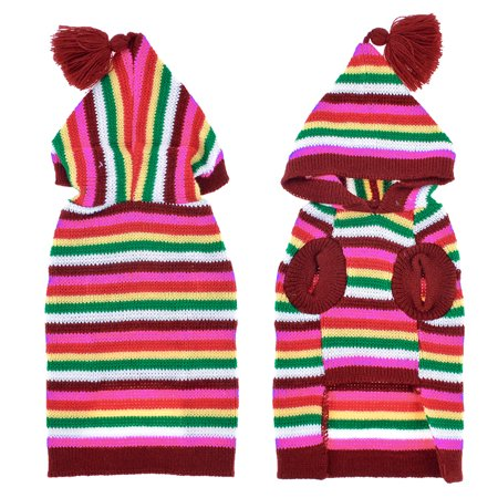 Hooded Knit Pet Doggie Sweater Dog Clothes Coat Apparel Multicolor Size XL - image 1 of 1