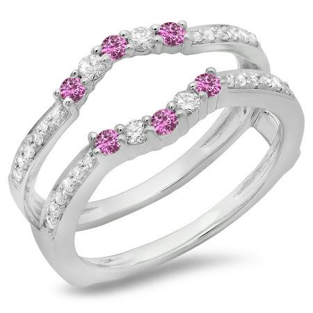 Dazzlingrock Collection 14K Pink Sapphire & White Diamond Wedding Band 5 Stone Enhancer Guard Double Ring, White Gold, Size (5 Stone Diamond Wedding Band)