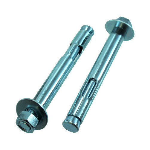 """1//4/"""" X 2-1//4/"""" Zinc Plated Hex Head Sleeve Anchors Pack of 12"""