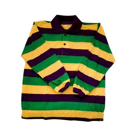 Girls Striped Polo - Child Medium Mardi Gras Stripe Purple Green Yellow LS Polo Shirt