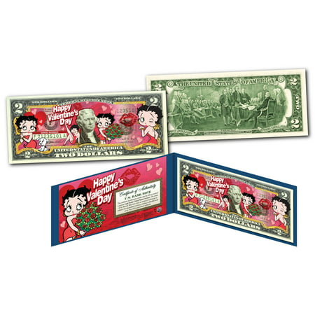 BETTY BOOP  * Happy Valentine's Day * Officially Licensed Colorized U.S. $2 Bill](Betty Boop Happy Birthday)
