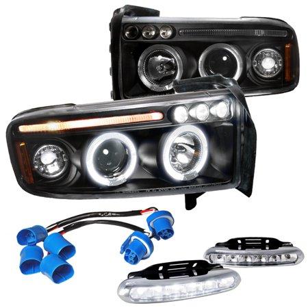 Spec-D Tuning Dodge Ram 1500 Sport Package, Black Halo Led Proj Headlights, Led Fog Lamps (Left + (Headlamp Package)