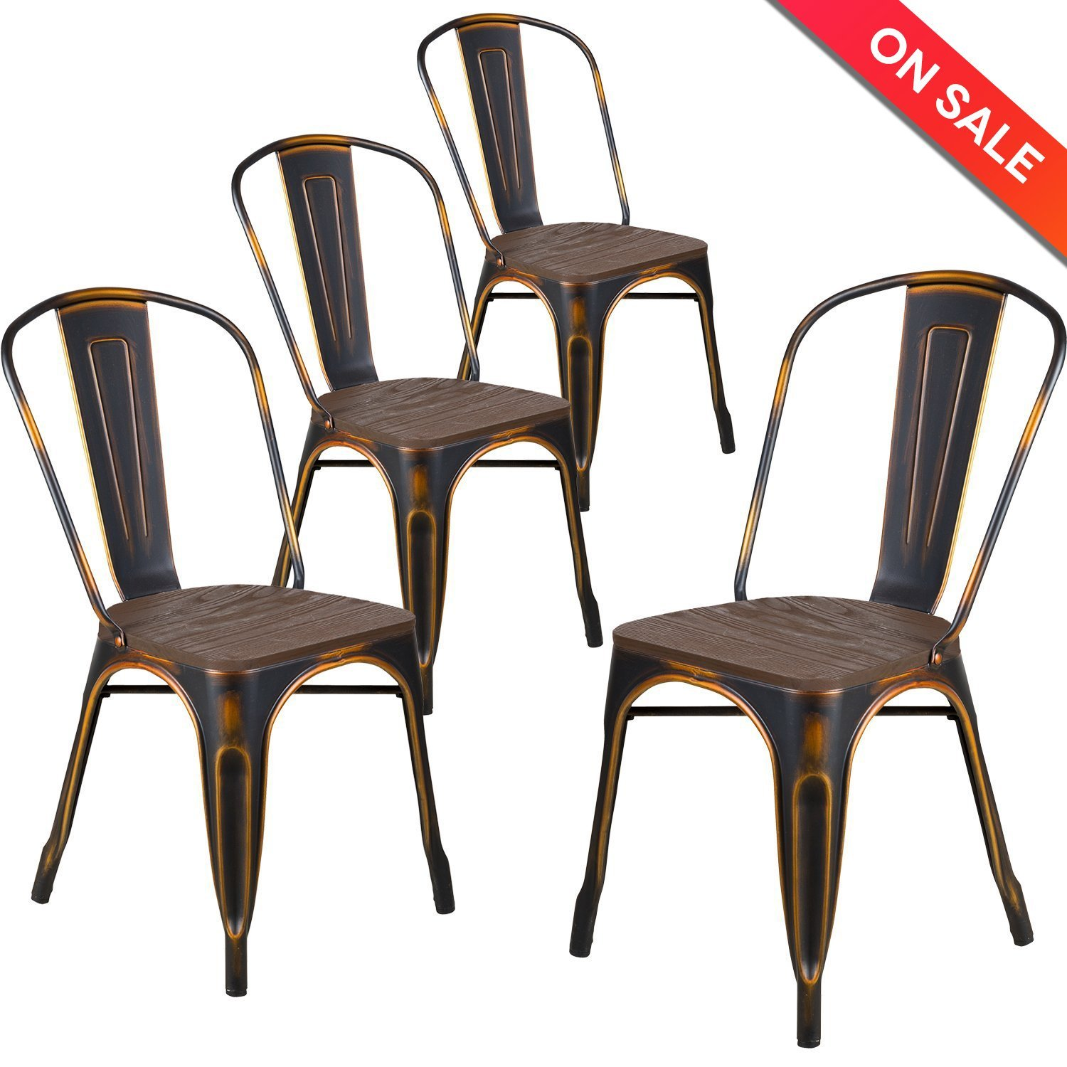 LCH Industrial Metal Wood Top Stackable Dining Chairs, Set Of 4 Vintage  Indoor/Outdoor