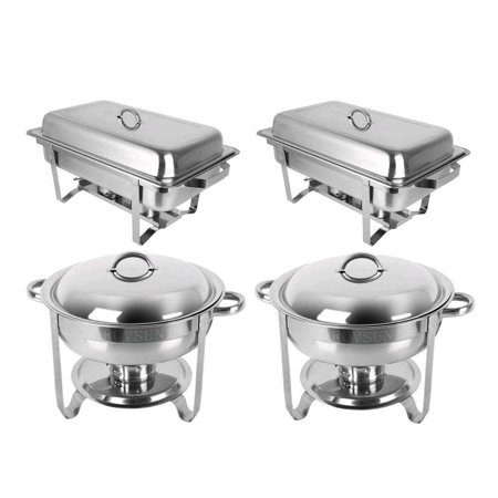 Stainless Steel Round Chafing Dish - Zimtown 2 Round & 2 Rectangular Chafing Dish Full Size Upgraded Stainless Steel Buffet Catering Warmer Set with Food and Water Trays, Mirror Cover, Thick Stand Frame for Kitchen Party Banquet