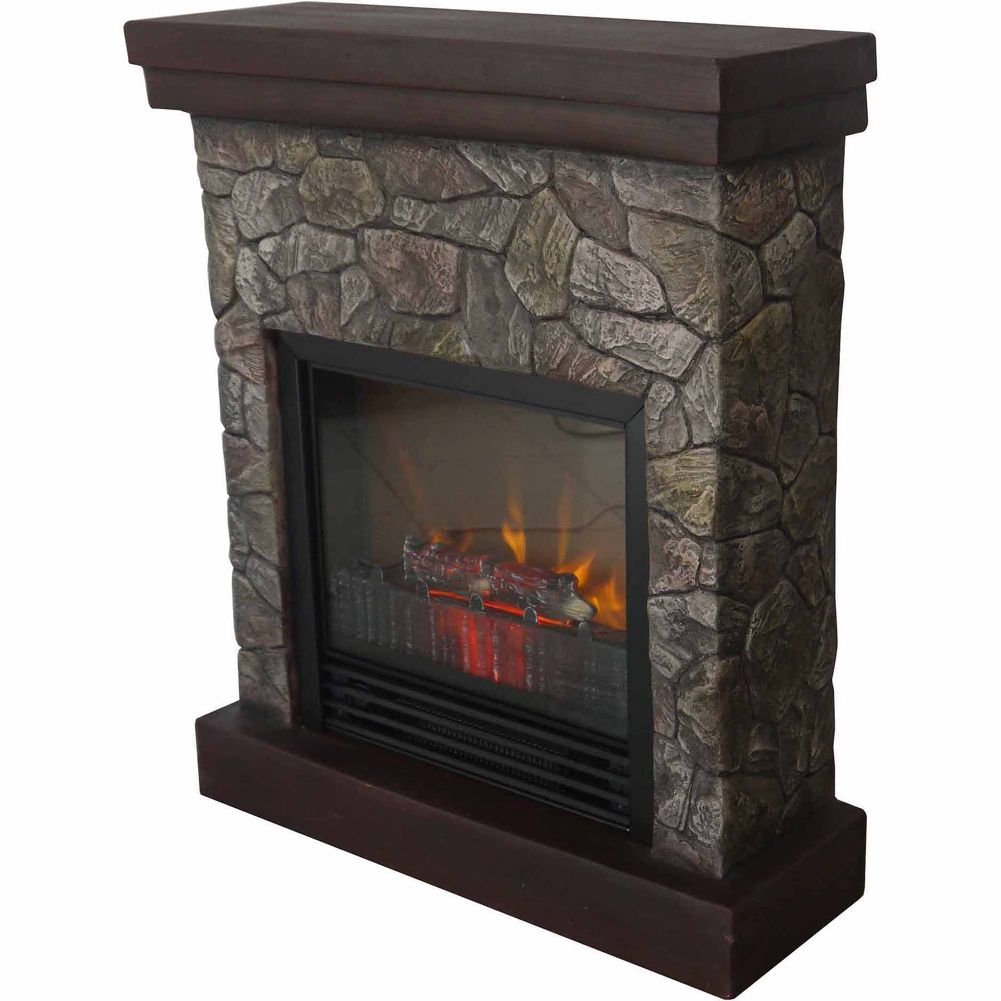 Electric Fireplace Heater Faux Stone Free Standing Tv