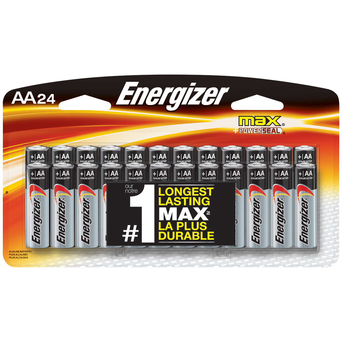 Energizer MAX Alkaline, AA Batteries, 24 Pack
