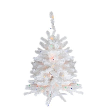 2' Pre-Lit Snow White Artificial Christmas Tree - Multi-Color Lights - Walmart.com