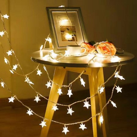 2.5M LED String Star Fairy Lights Battery Operated Waterproof Lamps for Bedroom Wedding Christmas Decor Warm White ()