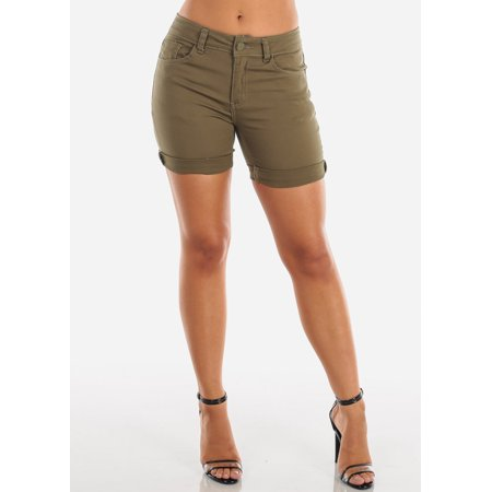 Womens Juniors Ladies Casual Everyday Basic Must Have Vacation Summer Cute Solid Green Olive Stretchy Jean Denim Shorts 10304W (Nike Dark Green Shorts Women)