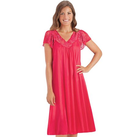 Women's Silky Lace Trim V-Neckline Knee-Length Nightgown with Flutter Lace Sleeves, Xxx Large, Red
